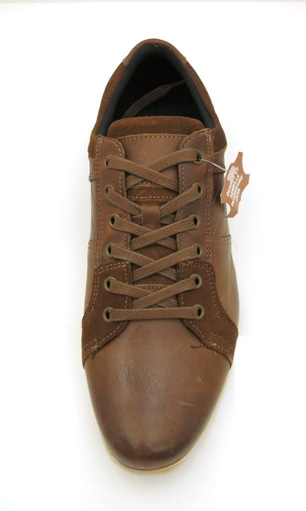 Casual Lederschuhe Schnurer Leder Sneaker Ledersneaker braun 55233