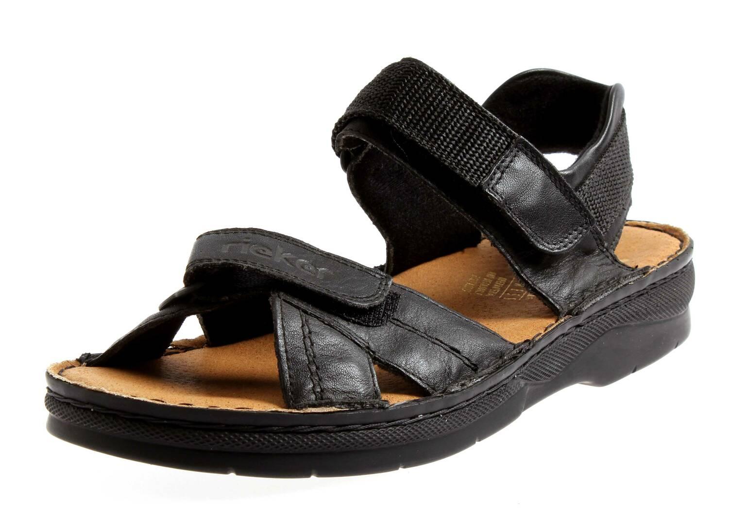 rieker sandalen lucy damenschuhe sommerschuhe 63551 trekkingsandale creme black ebay. Black Bedroom Furniture Sets. Home Design Ideas