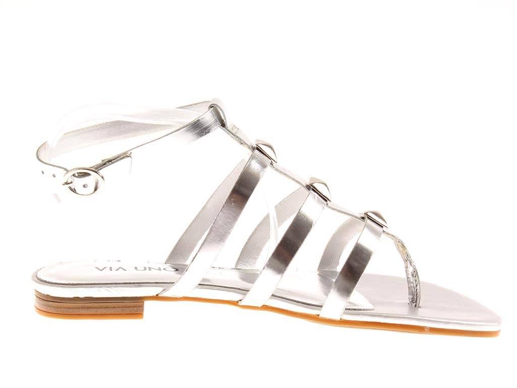 Via Uno Zehensteg-Sandale Sandale Lackleder Damenschuhe Römer silber gold OGtd57whbQ