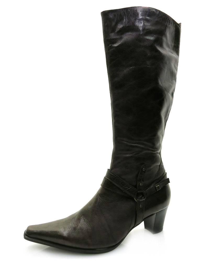 LAMICA Botas De Mujer Botas Zapatos Mujer Botas de piel caña larga marrón negro