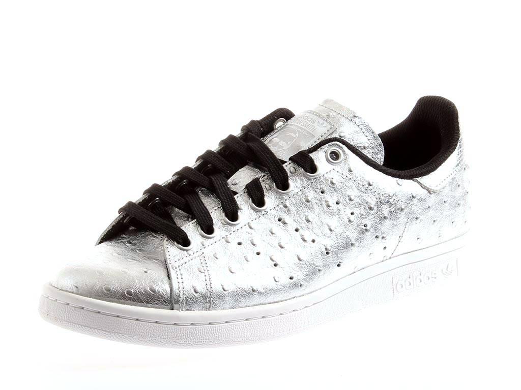 ADIDAS Stan Smith Sneaker Argento aq4706 Vera Pelle Unisex Scarpe Sportive